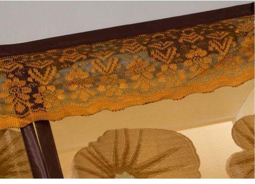 Detail Motif Bordir  Pinggiran Atas diberi renda dengan bordiran yang bagus dan telah dijahit langsung ke tirai (tidak terpisah)