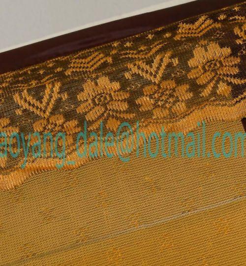 Detail Motif Jaquard Pinggiran atas diberi renda yang dibordir dengan bagus dan dijahit langsung ke tirai dan tidak terpisah