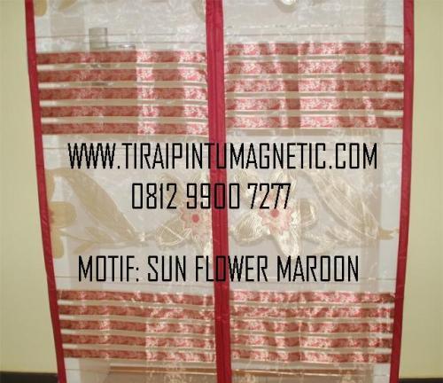Size: 95x210 Motif: Sun Flower Warna: Maroon