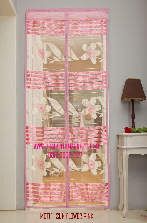 Size : 95x210 Motif: Bordir Sun Flower Warna: Pink